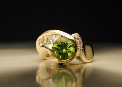 unique diamond anniversary ring peridot