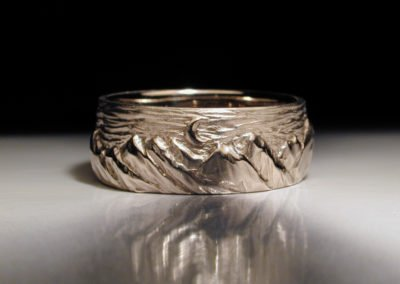 unique mens wedding ring carved mountains