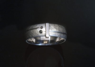 unique mens black diamond wedding ring palladium