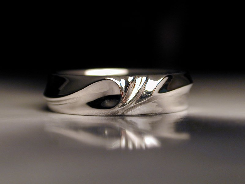Delightful Unique Platinum Mens Wedding Ring Water