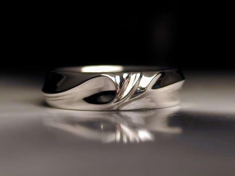 Unique Platinum Mens Wedding Ring Water